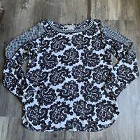 Ann Taylor Loft Small Top White Gray Paisley Print Long Sleeve Blouse Womens