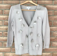 Gray Pima Cotton Ann Taylor Loft V-neck Embellished Cardigan Sweater Size Small