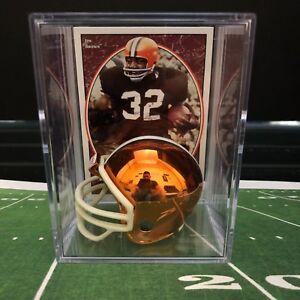 Chrome Edition Cleveland Browns Jim Brown Mini Helmet Shadowbox w/ card