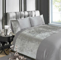 Belle Maison Crushed Velvet Quilt Cover Silver Grey Luxury Bedding Set FREE P&P