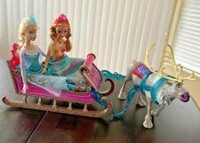 Disney Frozen • Anna Elsa & Sven Reindeer & Sled Dolls Figures •