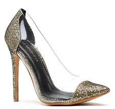 Shoe Republic Black Gold Silver Glitter Pointy toe Pumps Stiletto Women's shoes
