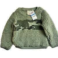 First Impressions Camo Green Fuzzy Sherpa Fleece Sweatshirt Boys Size 24 Months