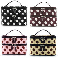 Polka Dot Makeup Case Double Layers Cosmetic Hand Bag Toiletry Storage US Stock