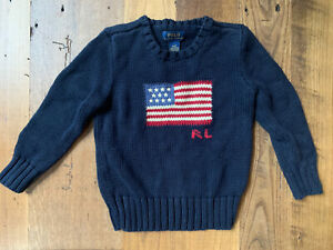 Polo Ralph Lauren Toddler Boy American Flag Sweater 'The Iconic Sweater' 4 / 4T