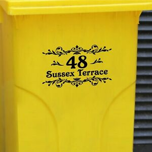 Wheelie Bin Vinyl Stickers - Number & Road Name or House Name - Retro Scrolls