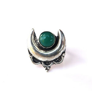 925 Silver Plated Green Onyx Moon Style Gemstone Ring Size UK ~ P / US ~ 8