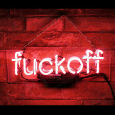 """Fvck Off Red Neon Sign Beer Bar Gift 14""""x7"""" Light Lamp Bedroom"""