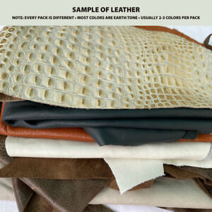 Leather scraps 3 lbs. - Genuine leather remnants assortment of sizes and colors