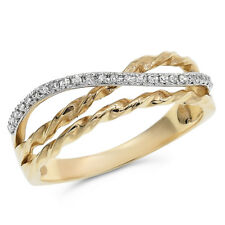 Cocktail Crossover Right Hand Ring 14K Yellow Gold Pave Round Diamond