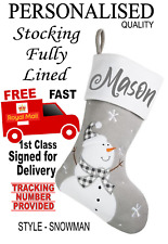 Grey SNOWMAN Personalised Beautiful Quality Lined Christmas stocking