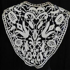 Vintage Edwardian Black Net White Chain Stitch Embroidery Lace Collar Dress Trim