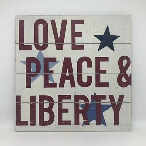 """Love, Peace & Liberty"" - Wooden Painted Wall Hanging Sign/Plaque"