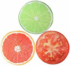 3D Lime + Tomato Grapefruit Slice Memory Foam Cushion Pillow Toy Seat Home Decor