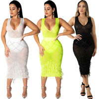 US Women V Neck Sleeveless Rhinestone Feather Mesh Perspective Sexy Club Dress