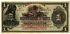 Haiti. Banque Nationale de la Republique d'Haiti, 1919 1 Gourde P-140a Note ABN