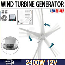 2400wwind Turbine Generator Unit 5 Blades Dc 12v With Power Charge Controller