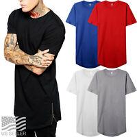Mens Longline HIPSTER T Shirts ZIPPER Casual Extended Hip Hop Hemline Tee Basic
