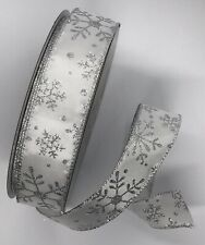 "White Silver 1 1/2"" inch wide Wired Ribbon 5 Yards Christmas Bty Snowflakes"