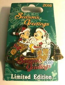 'DISNEY TRADING PIN - MICKEY AND MINNIE MOUSE IN A SLED SEASON'S GREETINGS 2016