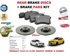 FOR RENAULT CLIO IV 1.6 RS TROPHY 260MM REAR BRAKE DISCS SET + DISC PADS KIT