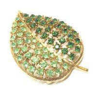 Lisner Green Rhinestone Leaf Brooch Brushed Gold Tone Vintage