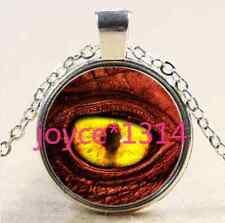 Glass Chain Pendant Necklace #1875 Vintage dragon eyes Cabochon Tibetan silver