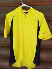 Canari san Diego mens cycling jersey M yellow short sleeve 1/2 zipper made in US