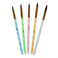 A8E5 5 x Size Acrylic Gel Nail Brush Set Nail Art Pen M4J9