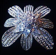BROOCH PIN Using Swarovski Crystal Gemstone Fashion Wedding Bridal Silver Clear