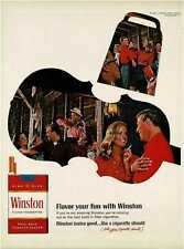 1966 WINSTON Cigarettes country music dancing, fiddle player  Vintage Print Ad