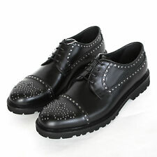 EMPORIO ARMANI $845 metal brogue studded oxfords leather shoes 9 UK/10 US NEW