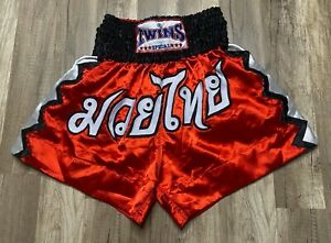 Auth Vintage Twins Special Boxing Red Kickboxing Muay Thai Shorts Sz L