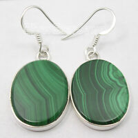 FLAT Shape OVAL STONES Earrings ! GREEN MALACHITE 925 Solid Silver Gift 1.6 Inch