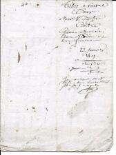 FRANCE VENTE NOTARIÉE 23/01/1809 A SENS  ACTE DE VENTE AVEC TIMBRE IMPÉRIAL