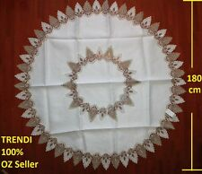White & Grey Lace Round Dinning table Tablecloth 180 cm diameter suits 6-8 seat