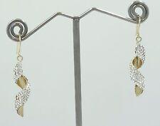Gold Crystal Dangle Wrap Earrings C59 Gorgeous Pair 14K Yellow & White