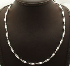 "18"" Italian Twisted Flat Omega Chain Necklace Real Solid Sterling Silver 925"