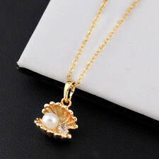 Sea Shell White Pearl Gold Plated Pendant Necklace Evening Party Jewellery