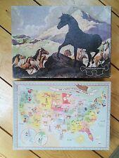 (2) Vintage Children's Springbok 100 Piece Puzzles Black Beauty/Land of Plenty
