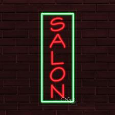"Brand New ""Salon"" w/Border Vertical 32x13X1 Inch Led Flex Indoor Sign 31618"
