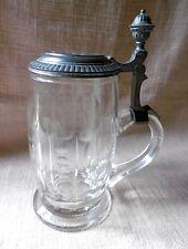 Alter Bierkrug   Glas  Jugendstil  Zinndeckel 1/2 L  1905  Andenkenglas Kegel