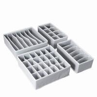 4pcs/set Closet Underwear Organizer Foldable Storage Box Drawer Divider Kit Grey