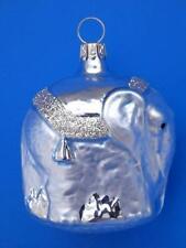 SM LT BLUE ELEPHANT GERMAN BLOWN GLASS CHRISTMAS TREE ORNAMENT CIRCUS ANIMAL