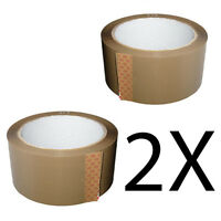 2X ROLLS BROWN PARCEL PACKING STRONG TAPE 66mx48mm PACKAGING SELLOTAPE SEALING