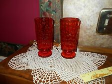Set 2 Vintage Fostoria Amberina Red Orange Footed Beverage Tumblers Glasses
