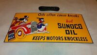 """VINTAGE SUNOCO OIL MICKEY MOUSE DONALD, GOOFY 24"""" PORCELAIN METAL GASOLINE SIGN!"""