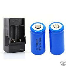 2x 2000mAh 16340 Rechargeable Li-ion Battery For LED Flashlight+CR123A Charger