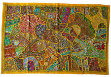 INDIAN Tapestry Yellow Wall Hanging Table Cover Recycled Sari Lace Embroidery