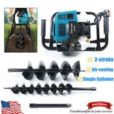 52cc Earth Auger Borer Fence Ground Gas Powered Post Hole Digger 2 Drill Bits